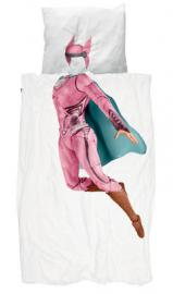 Super Hero Fille Bettwäsche-Set für 1 Person / 140 x 200 cm - Snurk - Rosa