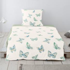Irisette Seersucker Bettwäsche Schmetterlinge Grün Fs Inspire
