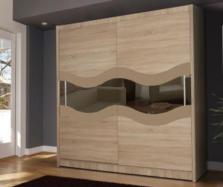 QUALIA 9 - Oak mirrored wardrobe closet