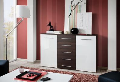 SB FOX 11 - wenge & white 5 drawer dresser