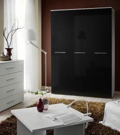 Wardrobe 135d - black 3 door wardrobe