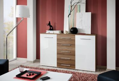 SB FOX 12 - Plum & white 5 drawer dresser
