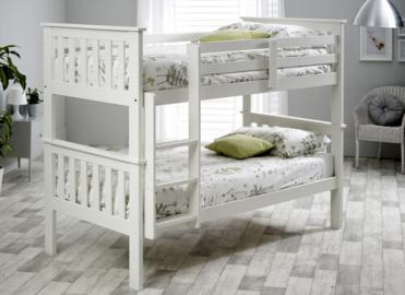 "Bedmaster White Carra Bunk Bed - Single (3' x 6'3"")"