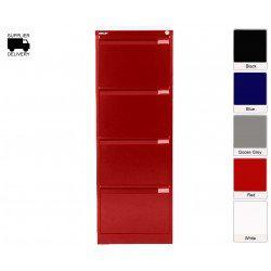 Bisley 1643-au4-801 1321x470x622mm BS4E Foolscap Flush Front Filing Cabinet with 4 Drawers - Cardinal Red