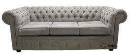 Chesterfield 3 Seater Settee Kimora Grey/Blue Fabric Sofa Offer