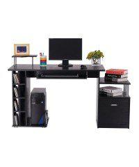 Stylish and Modern Black Computer Desk And Bookshelf - Has A Durable Frame Made Of Medium Density Fiberboard (MDF) - Multiple Shelves And A Large Drawer For Media And Accessories And Files - Ideal For Any Home Or Office Environment
