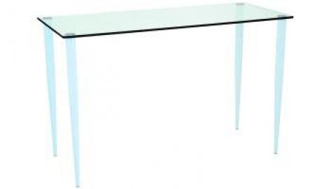 Slender Pin Elbow Table 800 dia frosted/coloured