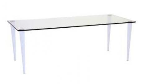 Pin Elbow 800mm x 800mm clear glass Table