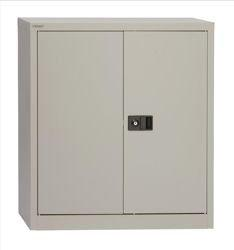 Trexus Storage Cupboard Steel 2-Door W914xD400xH1000mm Grey
