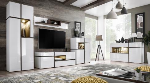 Chandler - white living room entertainment center