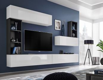 Boise I - black & white tv wall unit