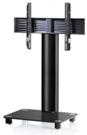 VCM Tosal Aluminium Black Glass TV Stand includes Role Set, Black