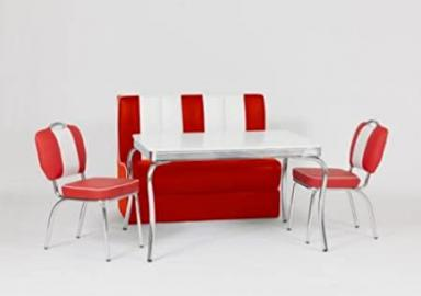 American Diner Furniture 50s Style Retro Table, 1 Booth and 2 Red Chairs
