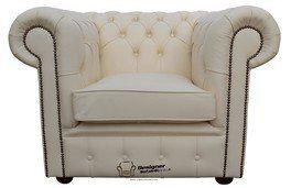 Chesterfield Low Back Club ArmChair Ivory Leather