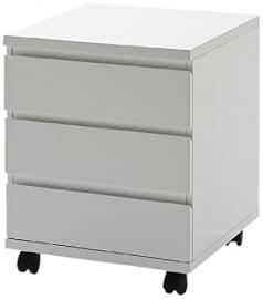 Robas Lund 40043W4 3 Drawer Chest 4 Integrated Rollers 42 x 42 x 57 cm MDF High-gloss White Finish