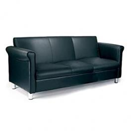 Black Italian Leather Three Seater Sofa