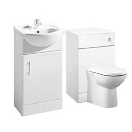 White Gloss 450mm Vanity Unit & 500mm WC Furniture Unit with Pan