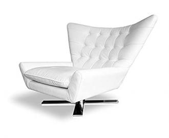 Rotatable V-shaped Real leather Wing Chair Tv Chair Armchair Lounge armchair. Illustration in leather White