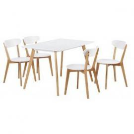 Beaux Meubles Pas Chers Oak and White – 160 cm Dining Table with 4 Chairs