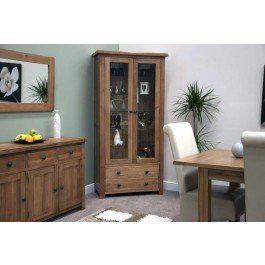 Rustic Style Oak Glass Display Unit