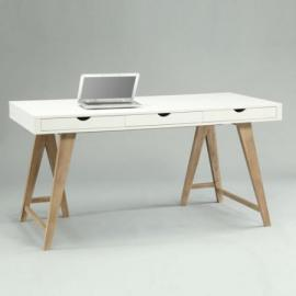 Arizona Desk White/Beech 3Drawer, Width: 150cm