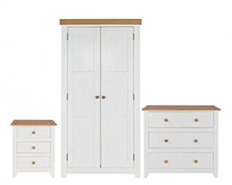 Bedroom Furniture 3 Piece Set 3 Drawer Chest of Drawers Bedside Table & Wardrobe White & Pine