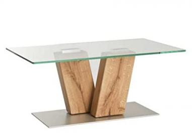 Vierhaus I-5685 WEIX Coffee Table-Oak Massivholzblock / Glass Plate 115 x 65 x 48 CM