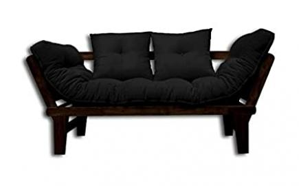Sofa bed Sesamo, Wenge, Black Futon, 200x82x32 cm