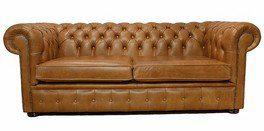 Chesterfield 3 Seater Settee Old English Tan Leather Sofa