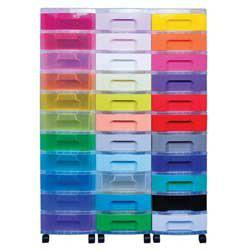 Really Useful Storage Unit - Capacity 33 Drawer x 7L - Black Tower Rainbow Drawers 5581134