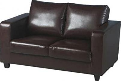 PAIR OF (2) LUXURY FAUX LEATHER TWO SEATER SOFA, IN A BOX IN EXPRESSO BROWN FINISH FROM CENTURION PINE