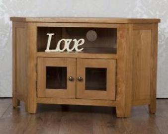 Classically Modern Solid Rustic Solid Oak Cartmel Glazed Glass Corner Tv Unit