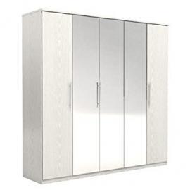 FM Bravo SP Z O.O. Stylish Paper Foil High Quality Particle Board 5 Door Robe, 203.1 x 201 x 52.5 cm, White