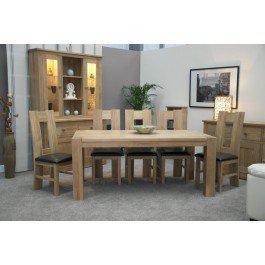 Trend Oak Large Dining Table Corner Legs