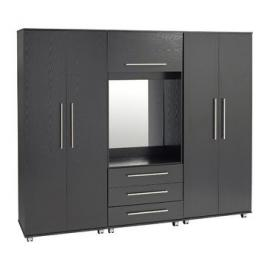 Ideal Furniture 5 Door + 2 Drawers + Mirror Wardrobe, Wood, Beech