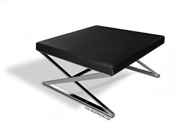 Our New Zig-Zag Bauhaus Coffee Table with Solid Legs Made of Stainless Steel and Genuine Black Leather Case. 90 x 90 cm/21 kg. Hand Made.