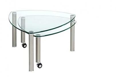 Vierhaus Coffee Table I 4290–300 99 / Glass / Metal Feet 80 x 80 x 39 and 43 CM