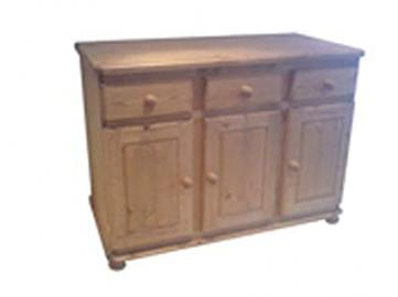 Wye Pine Woodland 4ft Thick Top Sideboard - Finish: Wax - Stain: Waterbased