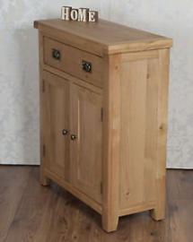 Classically Modern Chunky Solid Oak Harrogate Natural Slim 2 Door Drawer Sideboard Cabinet Cupboard