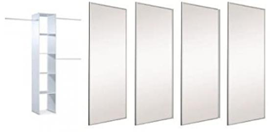 """Extra Wide 4 x 36"""" Silver Framed Mirror Sliding Door Pack with Interior Storage. Up to 3607mm (11ft 10ins) wide."""