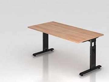 Height Adjustable Desk Series/65–85cm H x 160cm W x 80cm D, Table Top Color: Walnut, (Base Color: Black