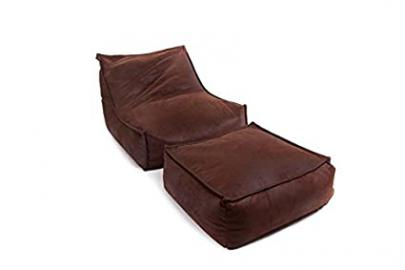 Chair and Footrest Blues, brown, 190x92x70 cm