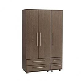 Ideal Furniture 3 Door + 4 Drawer Wardrobe, Wood, American Walnut