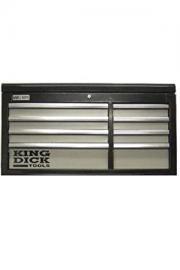 King Dick Top Chest Long 8 Drawer Black and Grey - TTCL8BG