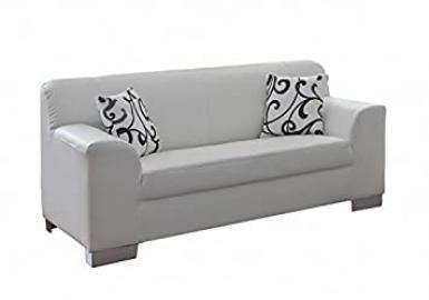 Siegen White Faux Leather 2Seater Sofa