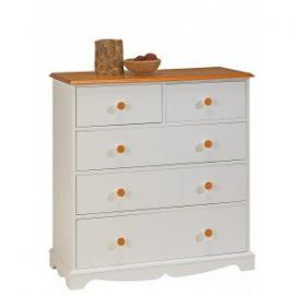 Beaux Meubles Pas Chers-White and Honey 5Drawer Chest