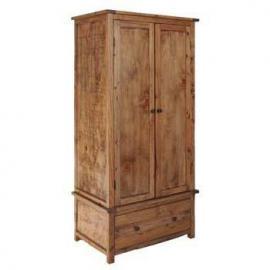 Denver Aged Wood Effect 2 Door 1 Drawer Combi | Gents Double Wardrobe