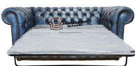 Chesterfield 2 Seater Sofa Sette Bed Antique Blue