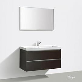 Bathroom furniture set 'Soho' 100cm mit Basin, Base cabinet und Mirror, colours: White, Wenge & Anthracite - White High Gloss