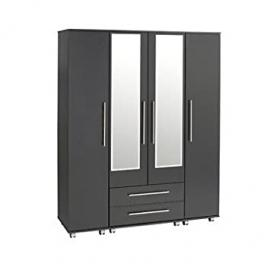 Ideal Furniture 4 Door + 2 Drawers + 2 Mirrors Wardrobe, Wood, White